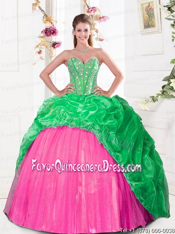 2015 Cheap Sweetheart Quinceanera Gown with Beading and Pick Ups