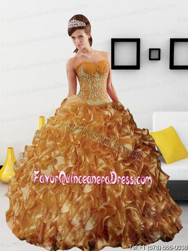 Sturning Appliques and Ruffles 2015 Quinceanera Dress