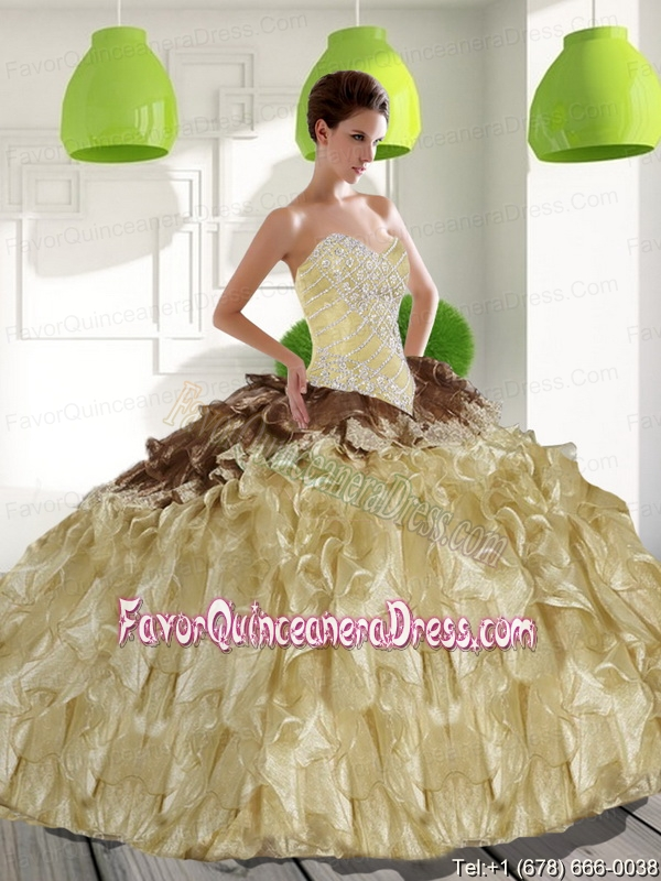 2015 Trendy Sweetheart Quinceanera Dresses with Beading and Ruffles