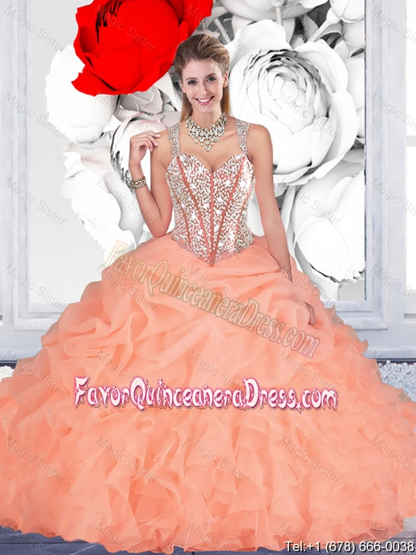 Elegant 2016 Summer Orange Ball Gown Straps Quinceanera Dresses with Beading