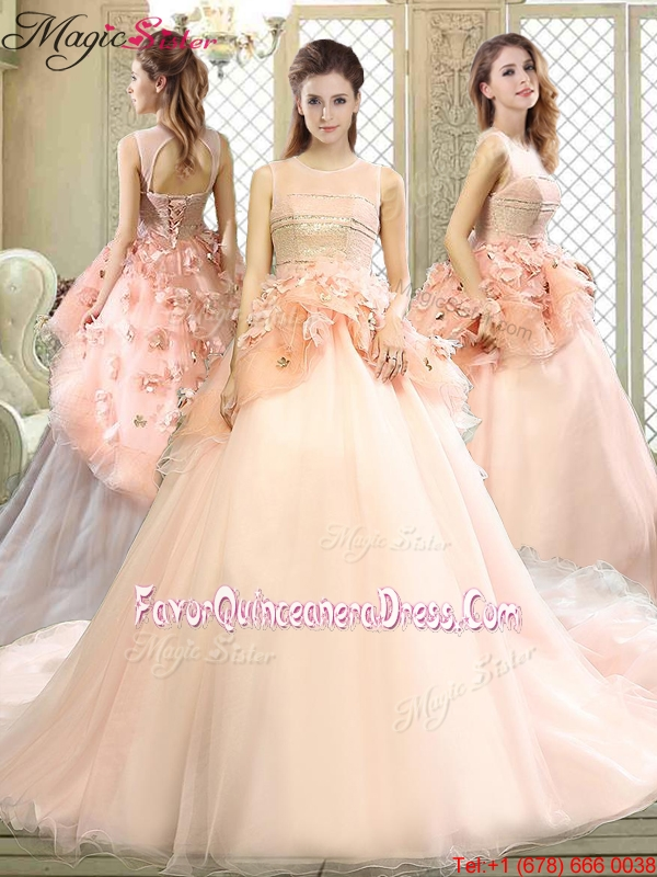 Beautiful Scoop Court Train Quinceanera Dresses with Hand Made Flowers in Pink