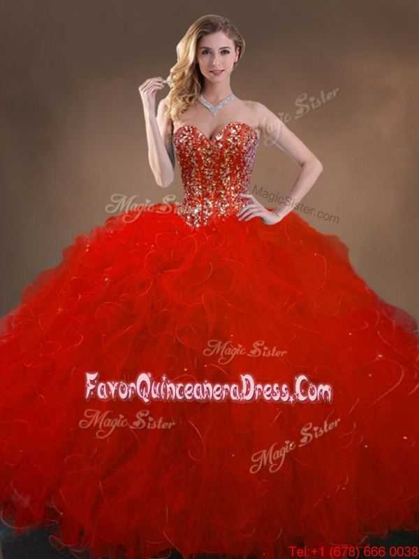 Ball Gown Beaded and Ruffles Quinceanera Gowns in Red