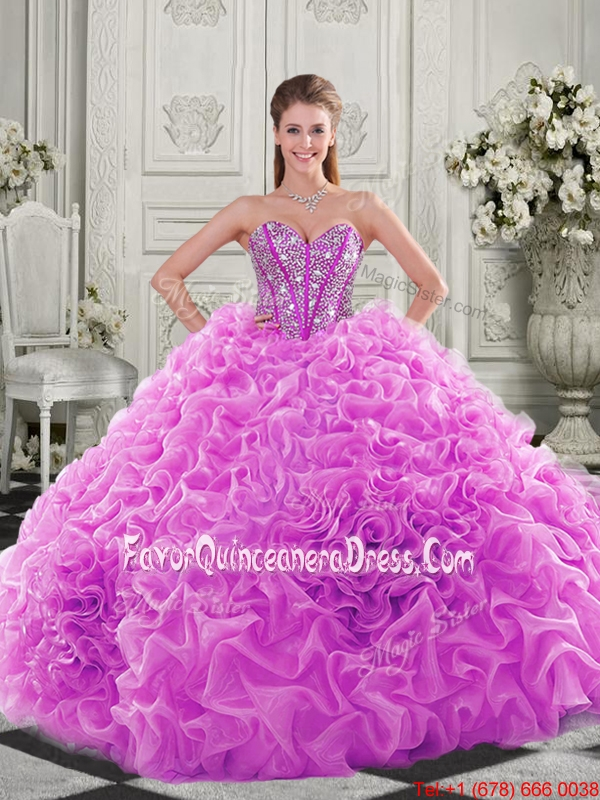 Cheap Visible Boning Beaded Bodice Fuchsia Quinceanera Gown with Ruffles