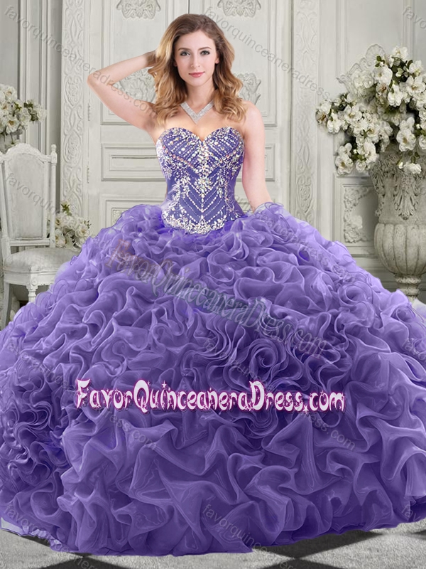 Gorgeous Beaded Bodice and Ruffled Quinceanera Dress with Chapel Train