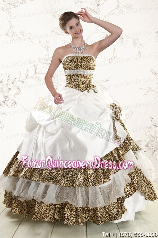 2015 Unique Leopard Quinceanera Dresses with Hand Made Flower