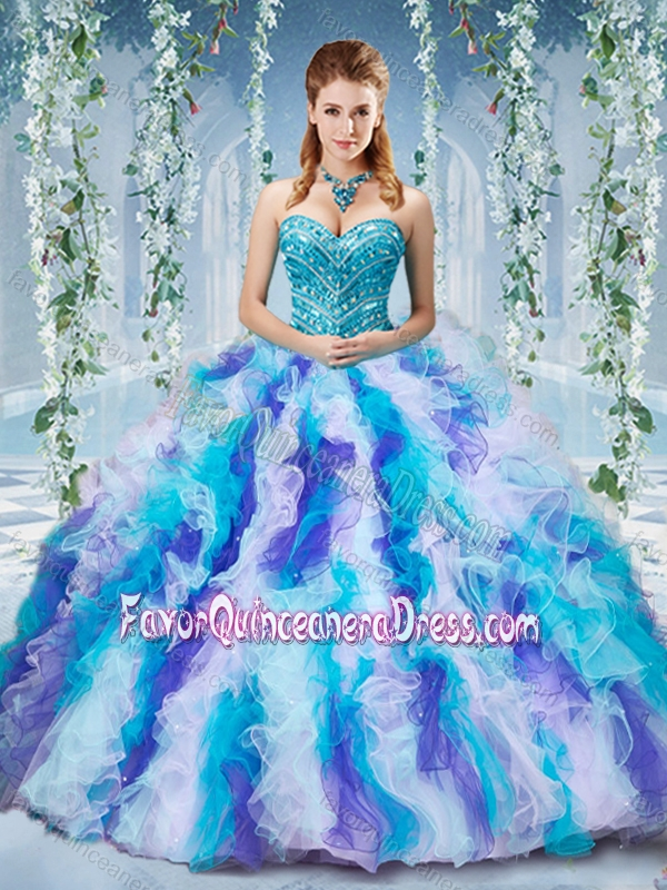 Gorgeous Rainbow Colored Big Puffy Quinceanera Dress With
