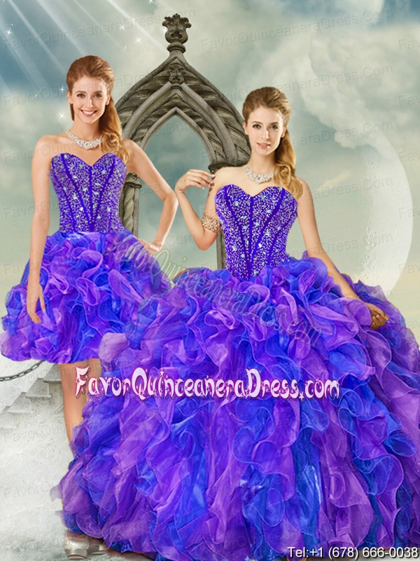 Luxurious Beading and Ruffles Quince Dresses on Sale in Purple and Blue for 2015
