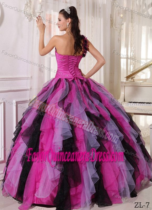 Attractive Multi-color One Shoulder Organza Dresses for Quince Ruffles