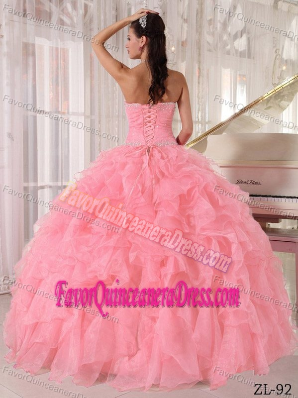 Attractive Watermelon Red Strapless Lace-up Organza Dresses for Quince