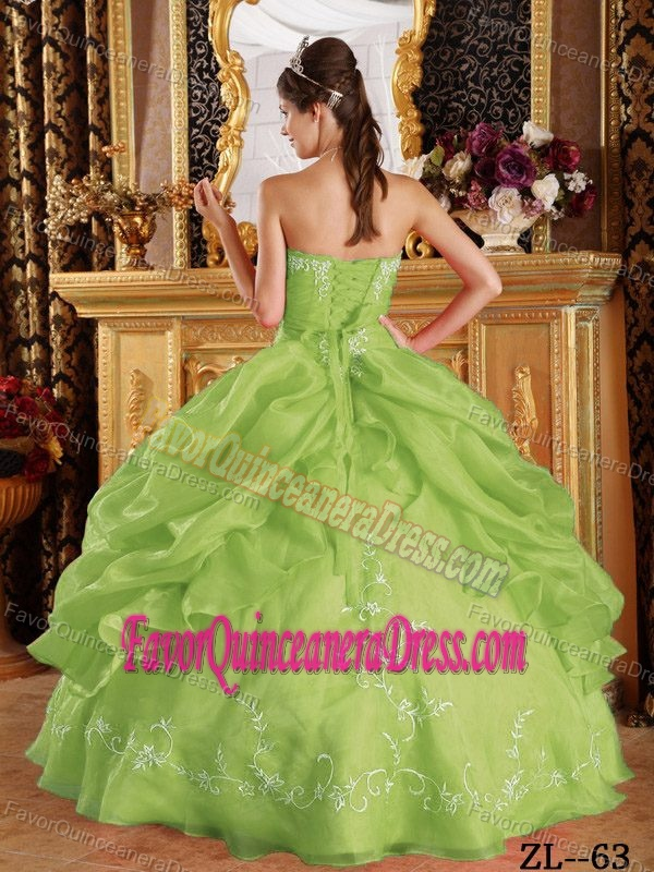 Special Strapless Organza Quinceaneras Dress in Yellow Green with Pick-ups