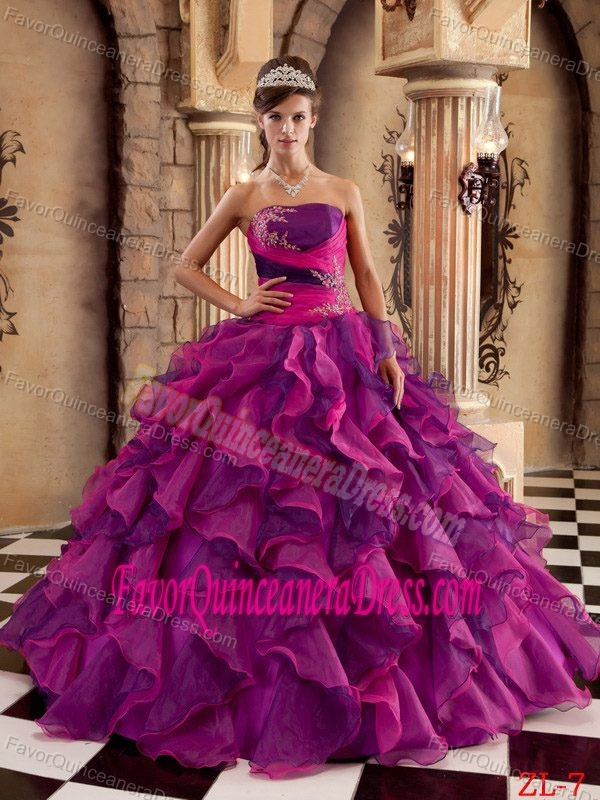 Ball Gown Strapless Organza Ruffled 2013 Quinceanera Dress in Multi-color