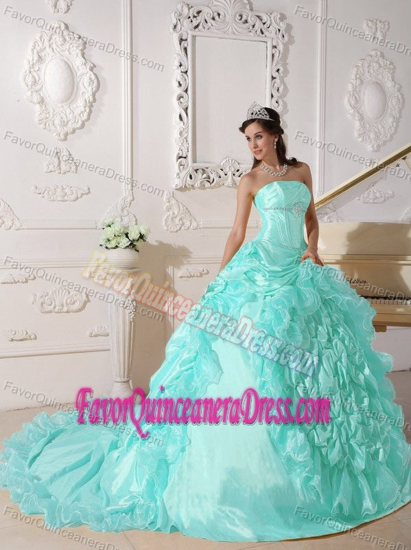 Chapel Train Beaded Baby Blue Strapless Quinceanera Dress in Taffeta