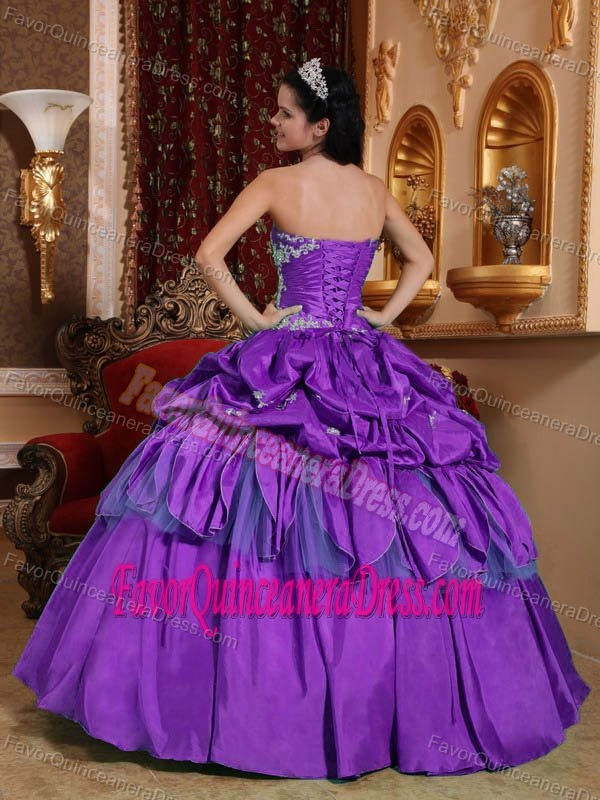 Appliqued Ball Gown Strapless Taffeta for Quinceanera Dress in Lavender