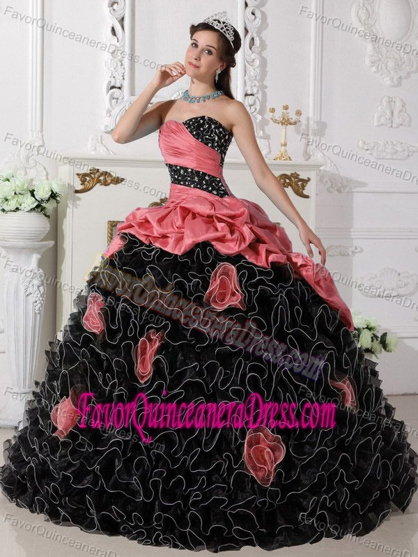 Red and Black Sweetheart Beaded Quinceanera Dress with Rolling Flowers