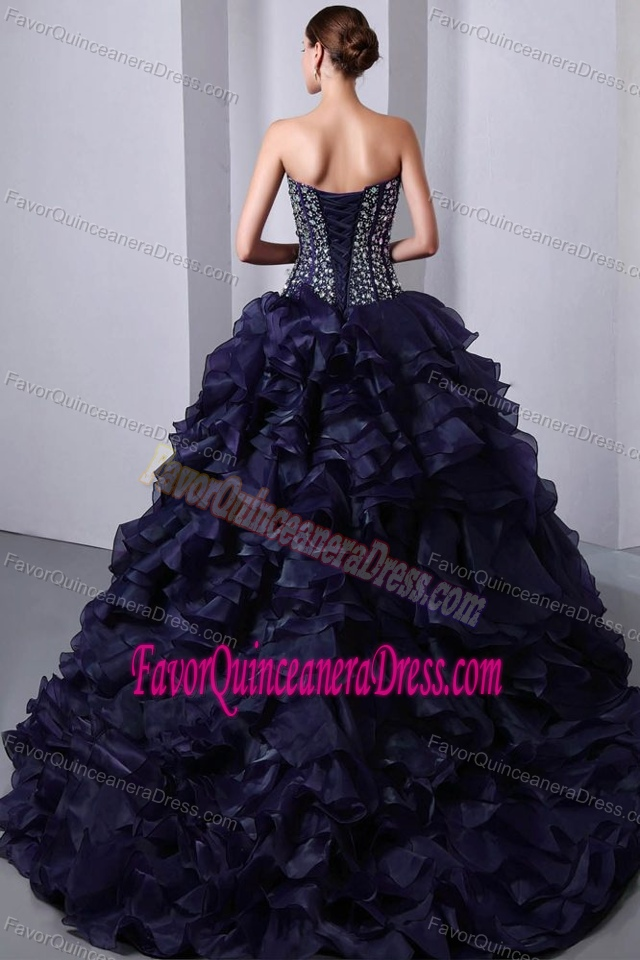 Beaded and Ruffled Dresses for Quinceanera in Dark Purple with Sweetheart