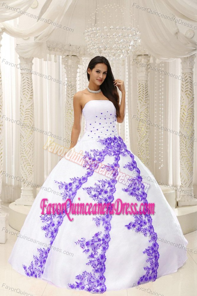Ball Gown Quinceaneras Dress with Purple Embroidery in the Mainstream
