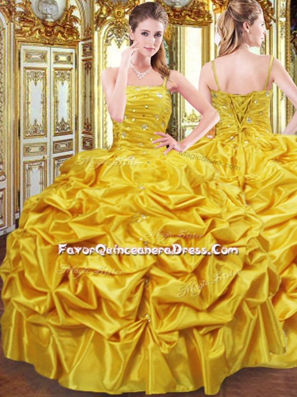 Designer Gold Taffeta Lace Up Spaghetti Straps Sleeveless Floor Length Quinceanera Gowns Beading and Pick Ups