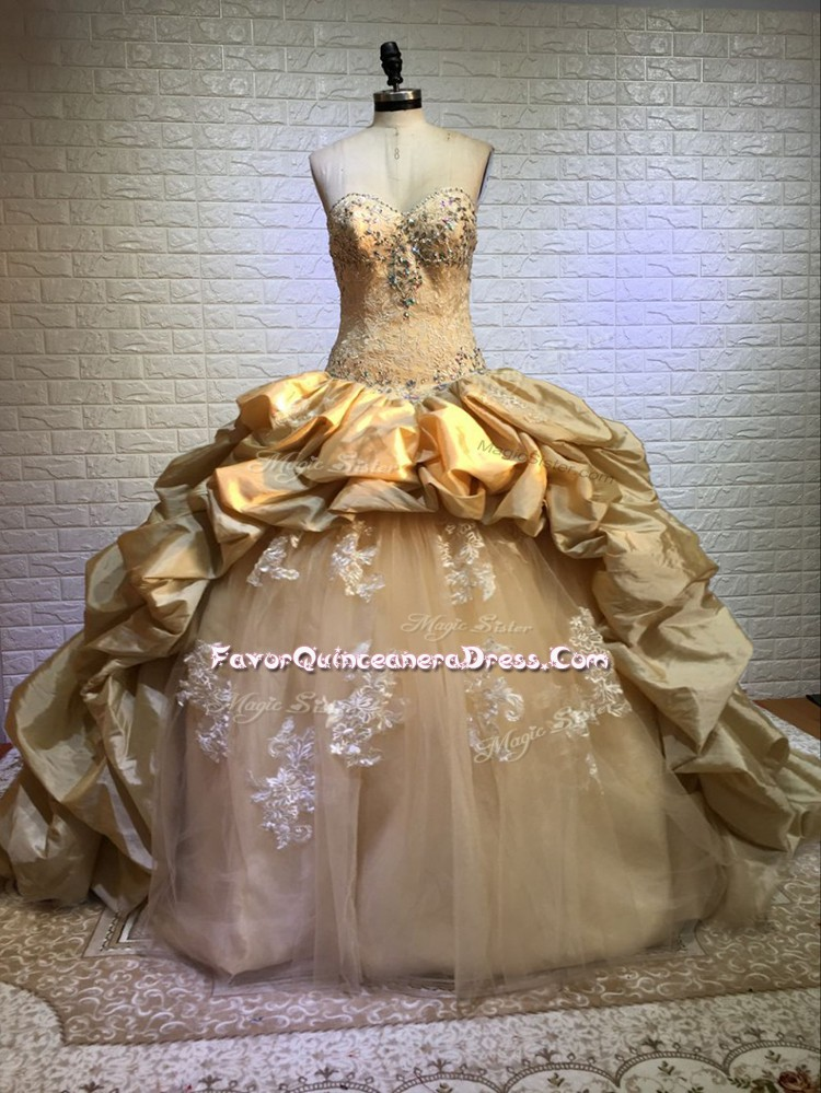 Adorable Gold Ball Gowns Taffeta and Tulle Sweetheart Sleeveless Beading and Appliques and Pick Ups Lace Up Sweet 16 Dress Court Train