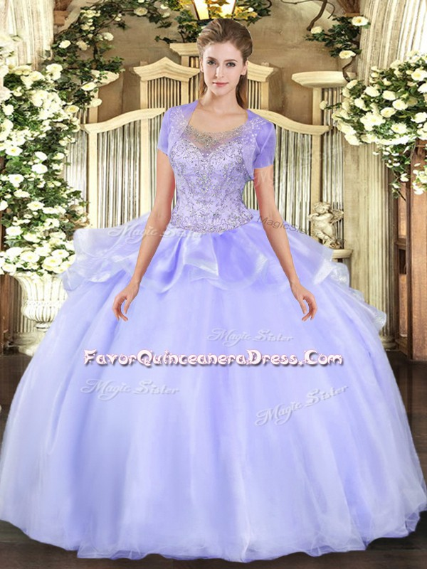 Vintage Lavender Quinceanera Dress Military Ball and Sweet 16 and Quinceanera with Beading and Ruffles Scoop Sleeveless Clasp Handle