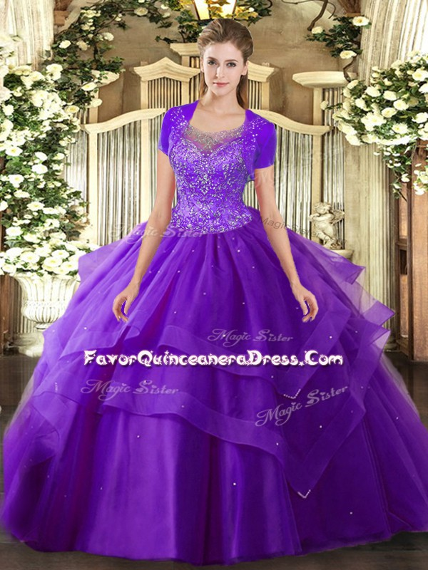 Modern Floor Length Purple Quinceanera Dresses Scoop Sleeveless Clasp Handle