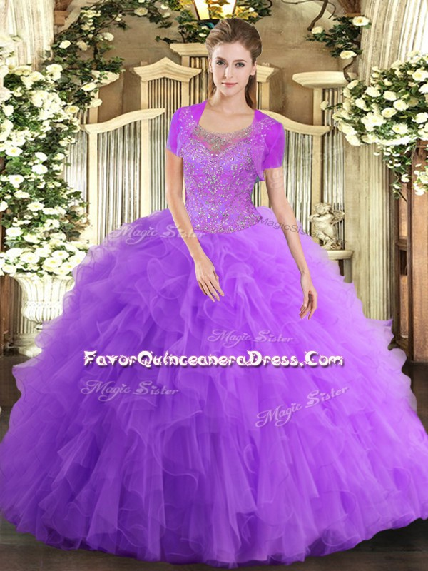 Lavender Sleeveless Tulle Clasp Handle 15 Quinceanera Dress for Military Ball and Sweet 16 and Quinceanera