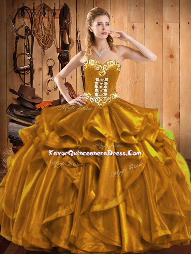 Luxury Floor Length Gold Quinceanera Dress Sweetheart Sleeveless Lace Up