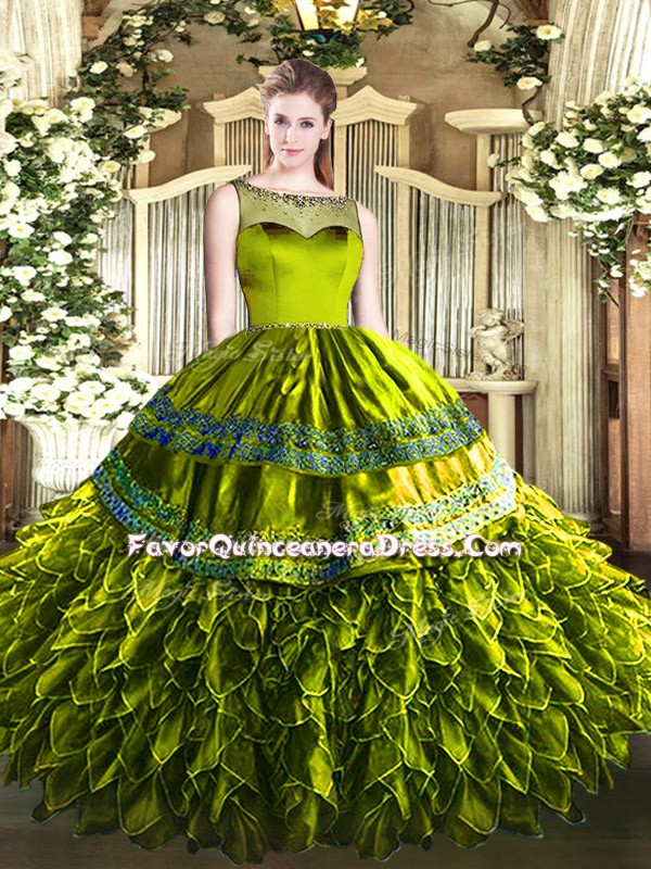 Olive Green Sleeveless Organza and Taffeta Zipper Vestidos de Quinceanera for Sweet 16 and Quinceanera