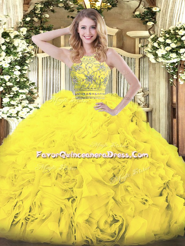 Gold Tulle Zipper Quinceanera Gowns Sleeveless Floor Length Beading and Ruffles