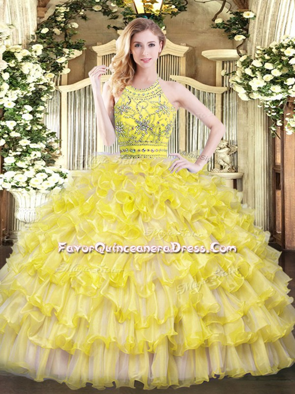 Romantic Floor Length Zipper Ball Gown Prom Dress Gold for Military Ball and Sweet 16 and Quinceanera with Beading and Ruffles