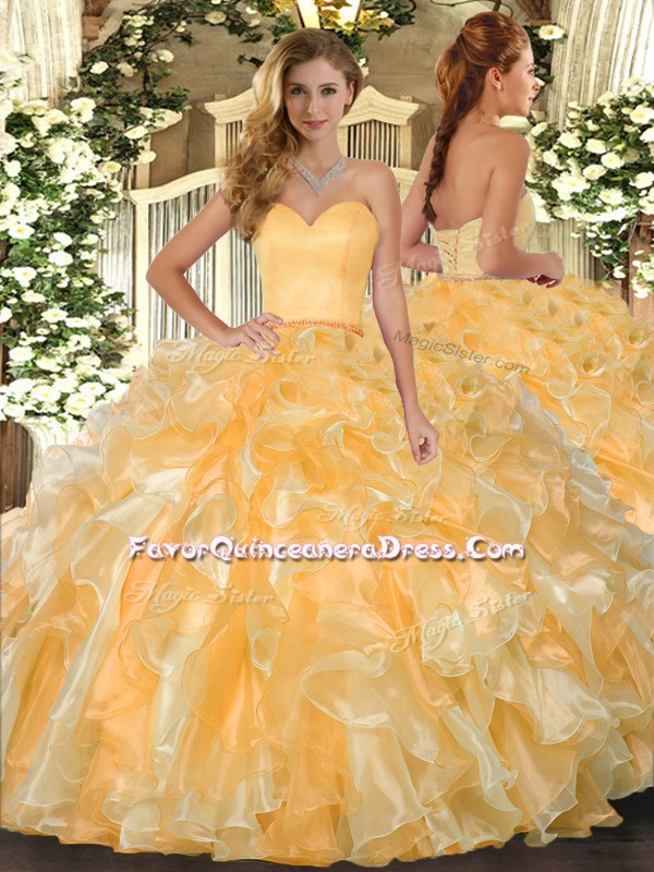 Ball Gowns Quinceanera Gowns Gold Sweetheart Organza Sleeveless Floor Length Lace Up