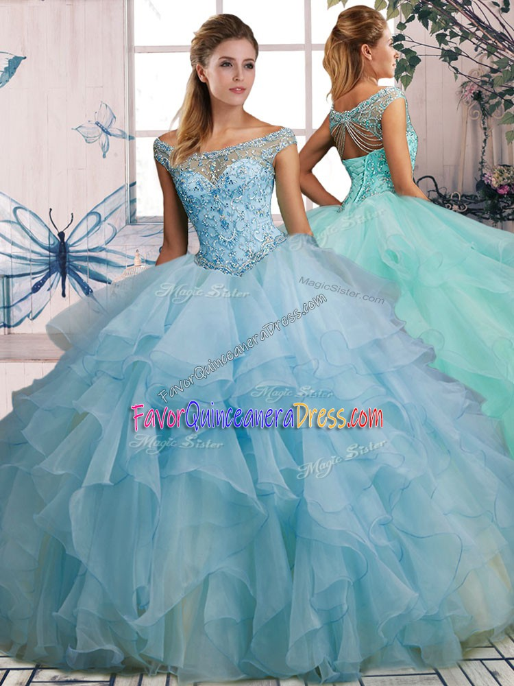 Discount Sleeveless Floor Length Beading and Ruffles Lace Up Quinceanera Dresses with Light Blue