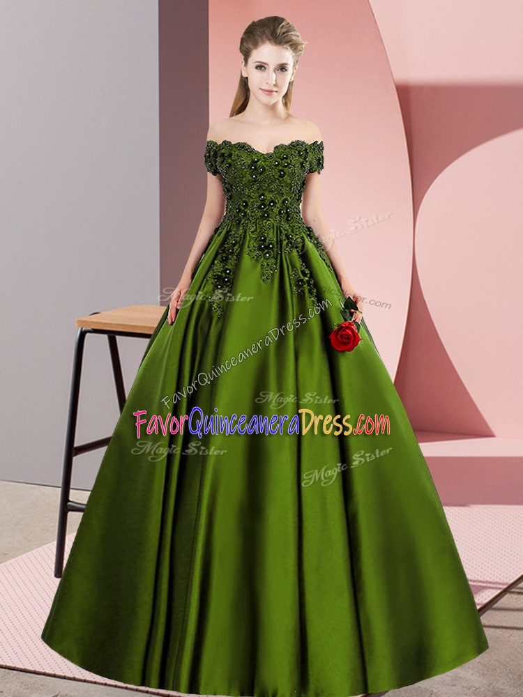 Attractive Olive Green Sleeveless Lace Floor Length Quinceanera Dress