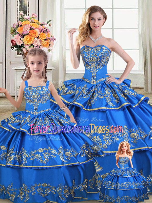 Most Popular Royal Blue Quinceanera Dresses Sweet 16 and Quinceanera with Embroidery and Ruffled Layers Sweetheart Sleeveless Lace Up