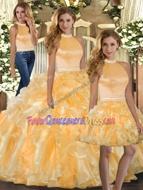 Flirting Gold Backless Halter Top Beading and Ruffles Quinceanera Gown Organza Sleeveless