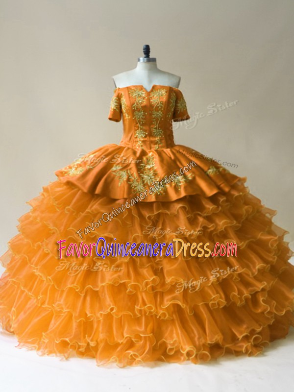 Best Gold Ball Gowns Organza Off The Shoulder Sleeveless Embroidery and Ruffled Layers Floor Length Lace Up Sweet 16 Dress