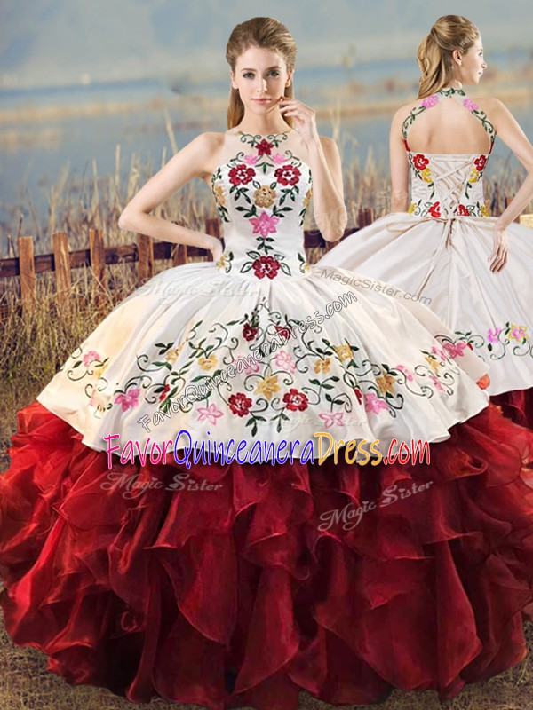 Decent Floor Length Ball Gowns Sleeveless White And Red Sweet 16 Dresses Lace Up