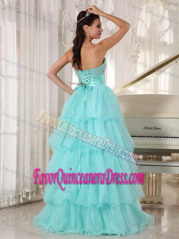 Apple Green A-line Dress for Quinceanera in Taffeta and Organza with Sash