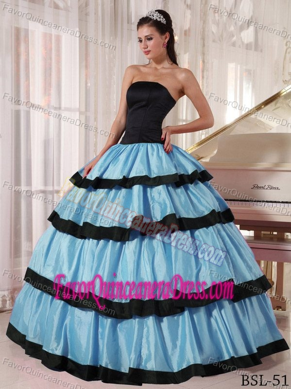 Classy Strapless Taffeta Quinceanera Dress with Layers in Black and Aqua Blue