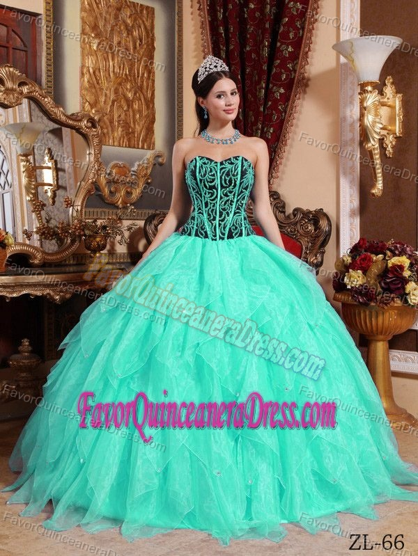 Green Ball Gown Organza Sweet 15 Dresses with Embroidery and Beadings