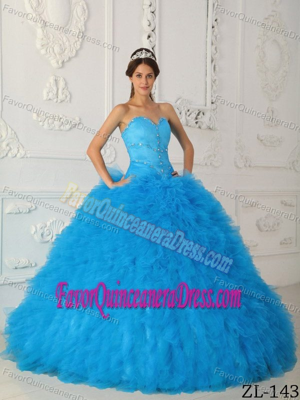 Attracting Beaded Satin and Organza Quince Dress with Ruffles and Sweetheart