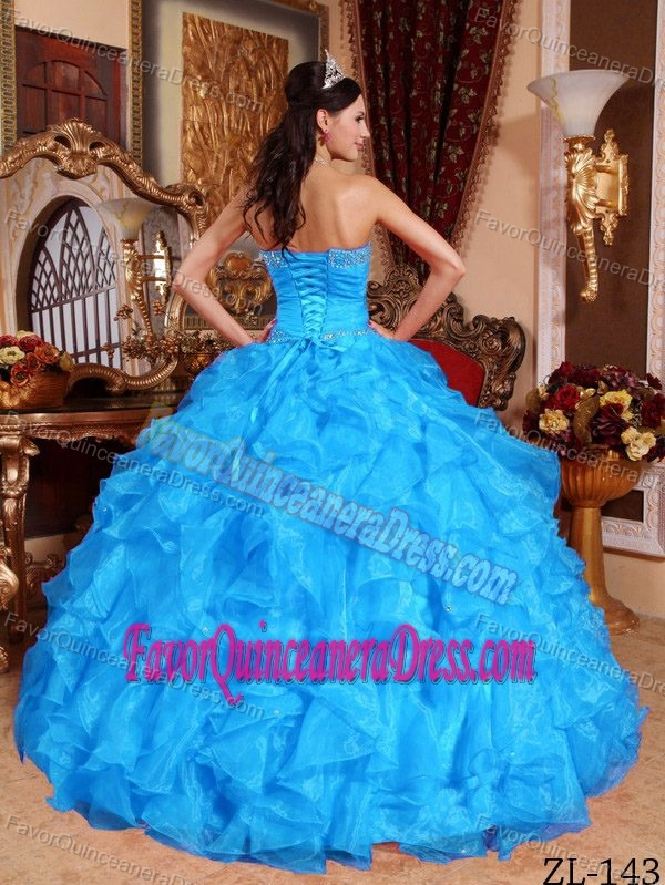 Ruffled Sweetheart Organza Quinceanera Dresses with Beadings and Ruches