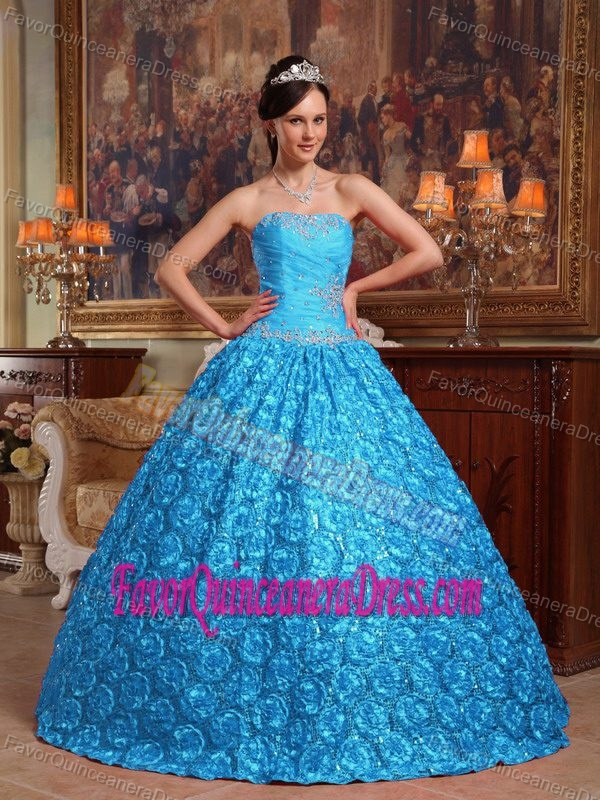 Ruched and Beaded Aqua Blue Dresses for Quinceanera With Rolling Flowers