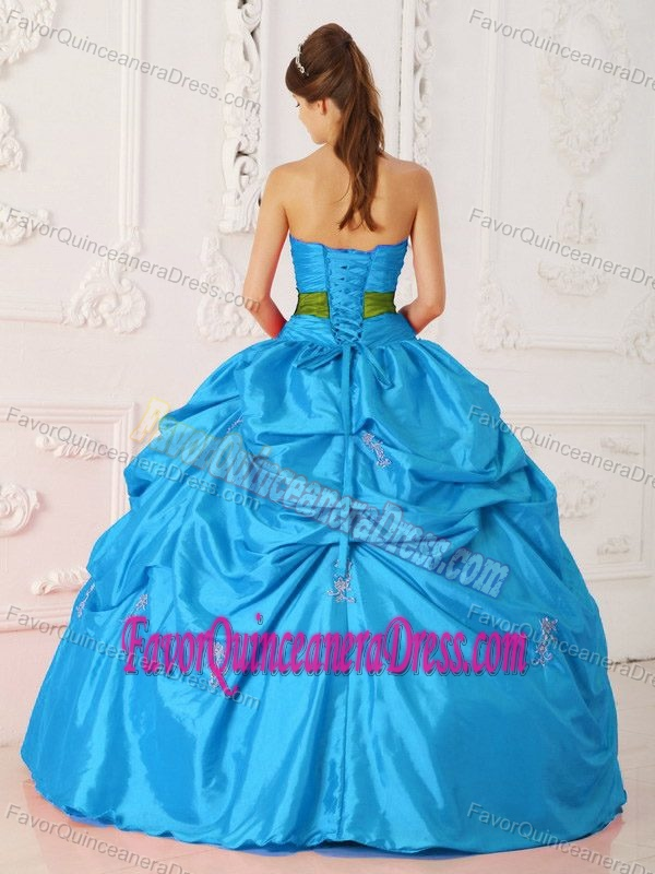 Teal Strapless Taffeta Beauty Quinceanera Dress with Beads and Green Bowknot