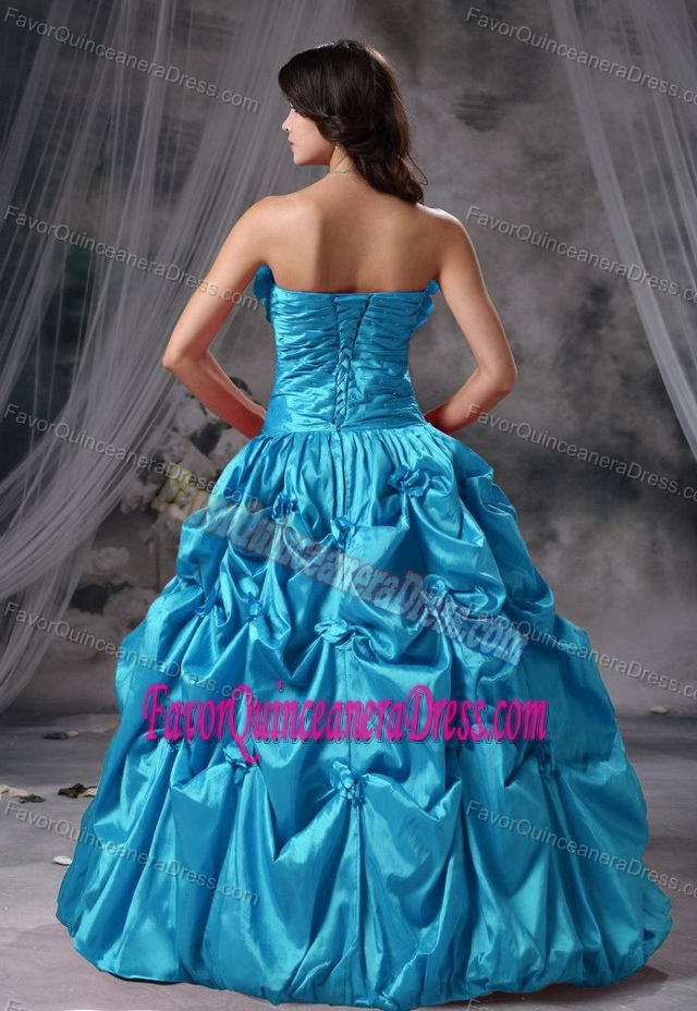 Strapless Graceful Quinceaneras Dresses with Hand Made Flowers and Pickups