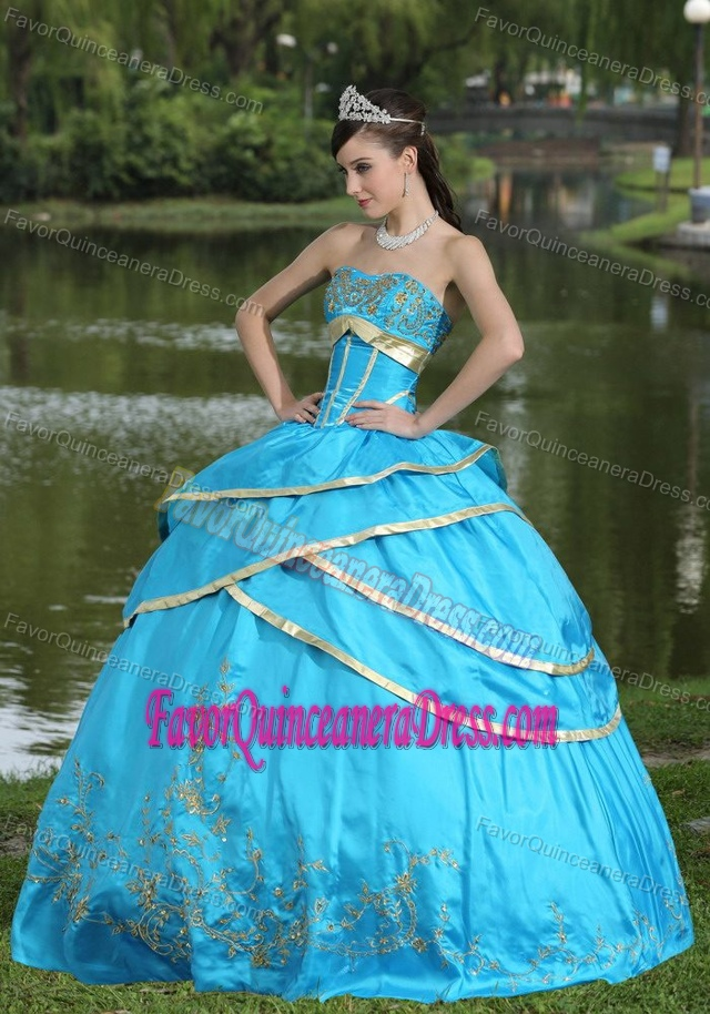 Dressy 2013 Sweet Sixteen Dresses in Aqua Blue with Embroidery and Layers