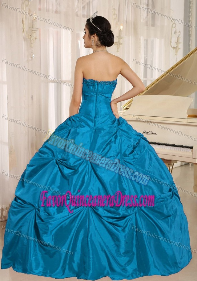 Teal Taffeta Strapless Quinceanera Dresses with Pick-ups in Dark Blue