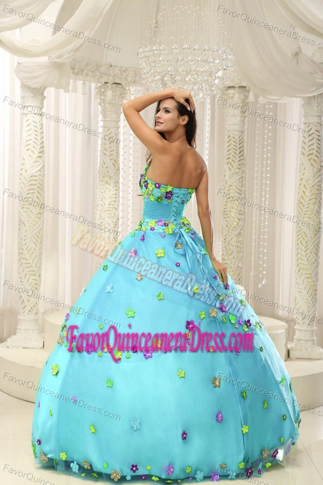 Appliques Decorated Bodice Baby Blue Quinceanera Gown Dress in 2013
