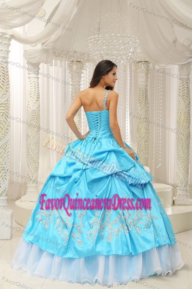 Embroider Decorated and Beaded 2011 Sweet Sixteen Dresses in Aqua Blue