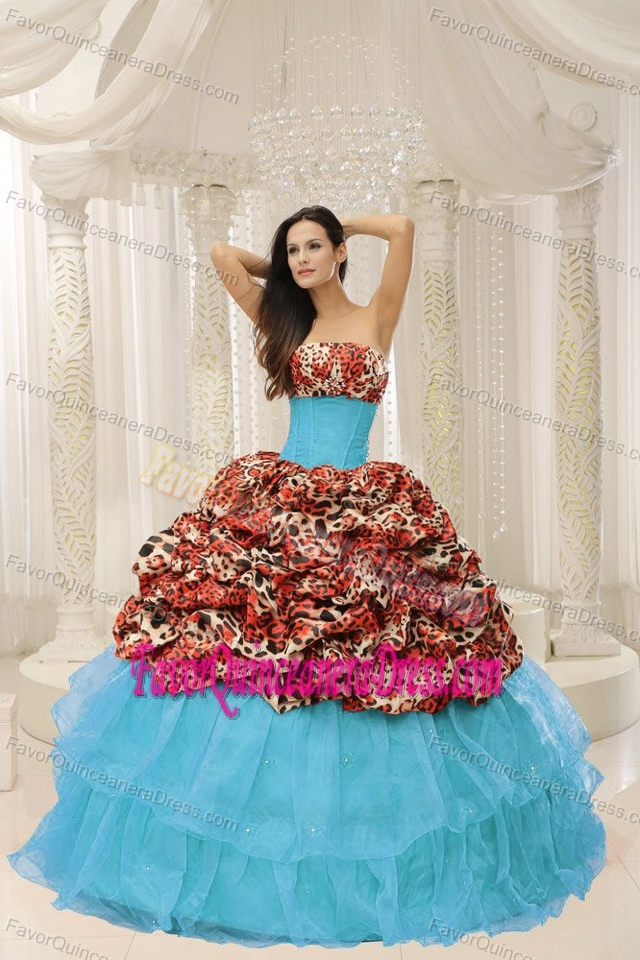 2013 Organza Beaded Leopard Decorated Quinceanera Dress in Aqua Blue