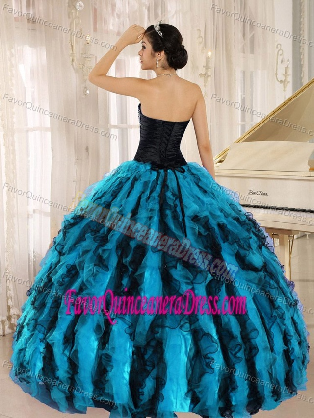 Beaded and Ruffled Sweetheart Quinceanera Dresses with Multi-color